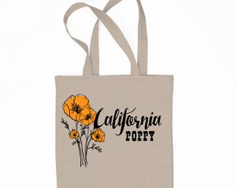 California Poppy, State Flower 6 oz Canvas Tote Bag