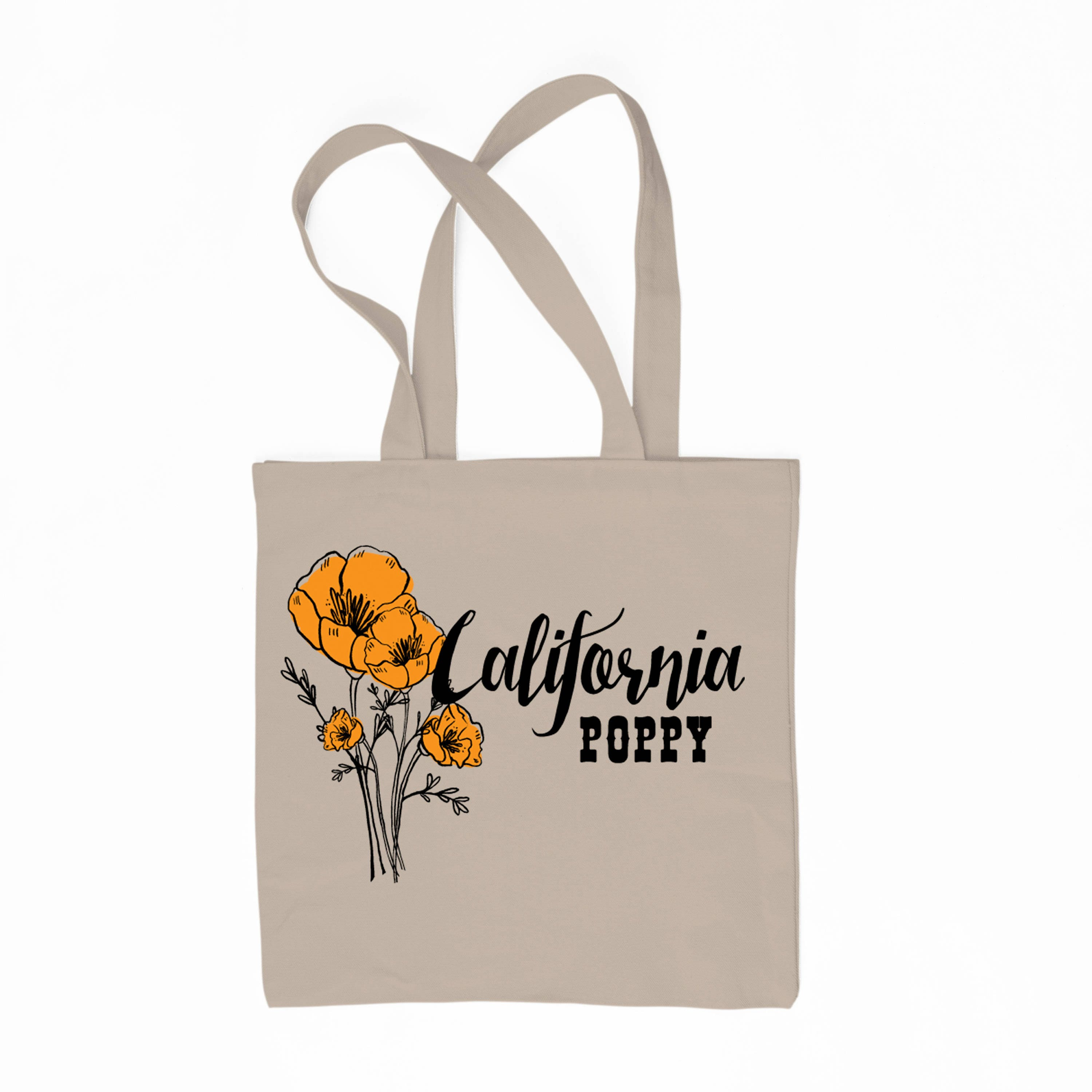 California Poppy State Flower 6 Oz Canvas Tote Bag Etsy