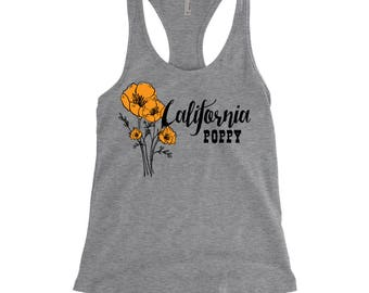 California Poppy, State Flower, Wildflower Racerback Tank