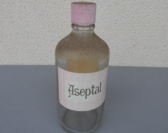 "Vintage apothecary bottle ""Aseptal"" an aseptic solution formaldehyde methanal medical glass bottle"