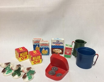 Vintage French miniature food toys play food birds rice jugs money