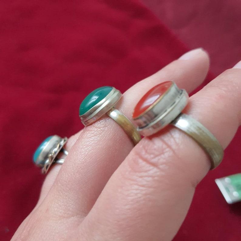 Vintage semi precious stone tibetan silver rings ring
