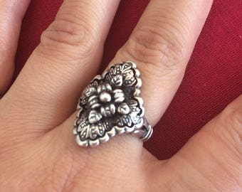 Floral Flower engraved Sterling Silver ring 925
