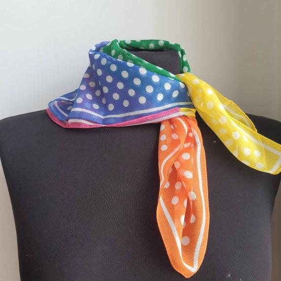 Vintage polka dots rainbow scarf