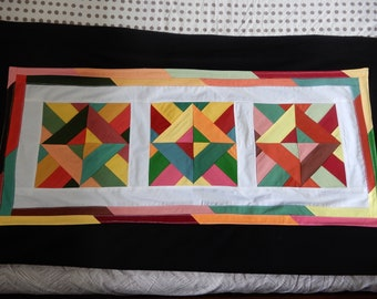 Patchwork Table Runner multicoloured handmade fabric decoration wall quilt