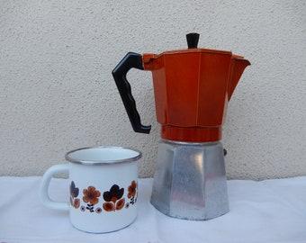 Big Vintage Italian Orange Crusinallo Coffee or Espresso Maker Moka Pot enameled top Made in Italy
