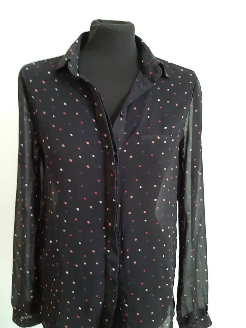 Black polka dot shirt blouse transparent long sleeve
