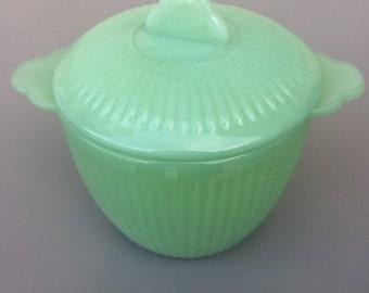 Vintage jadeite fire king sugar bowl jane ray