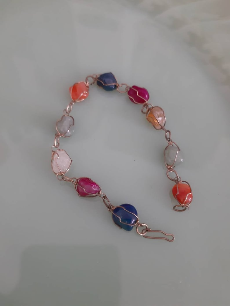 Vintage boho bohemian bracelet 70s hippie stones colourful
