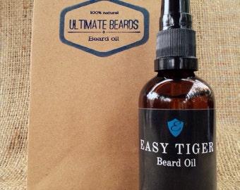 Easy Tiger Beard Oil (packaged in Ultimate Beards gift bag) - 50ml with serum pump.