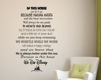 In this house - We do DISNEY - Wall decal/ REMOVABLE wall Decor