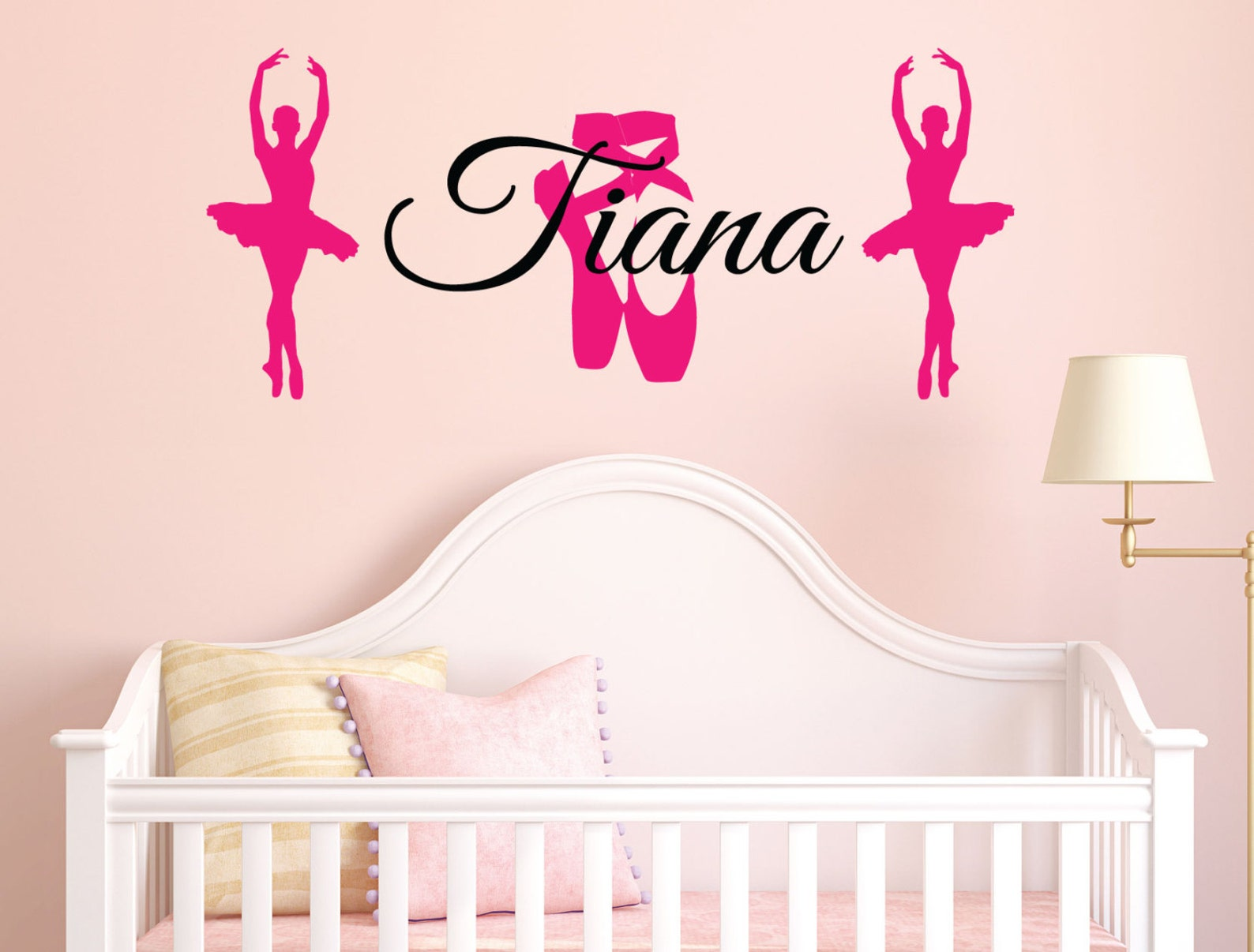 custom name ballet theme wall decal / dancing wall stickers / personalised wall art removable