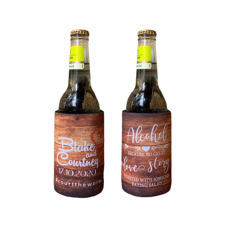 country style bonbonniere alcohol salad Custom Stubby Holders with base free shipping wedding favours koolie  wood
