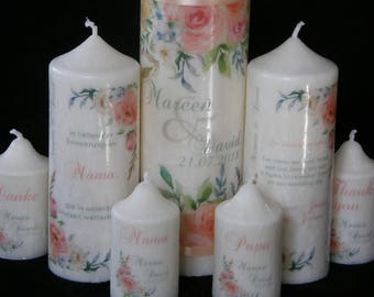 Handmade Wedding Candle Set  Roses Watercolored