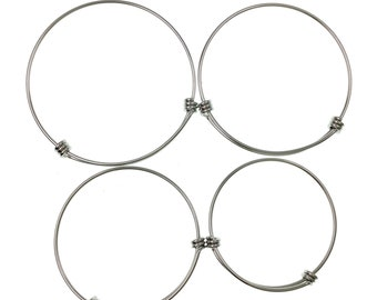 10pcs Stainless Steel Adjustable Wire Bangle Bracelet 3 Loops Wrap You Pick 4 Sizes