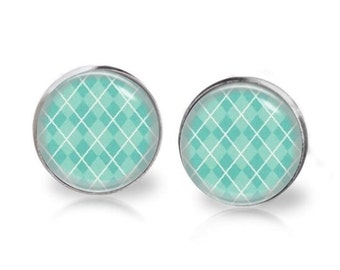 14mm Rhombus Check Aqua Blue Base Glass Dome Stud Earrings Surgical Stainless Steel Post