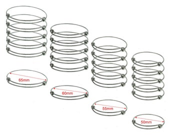 Bulk Lot 50 pcs Stainless Steel Adjustable Wire Bangle Bracelet 3 Loops Wrap You Pick From 4 Sizes
