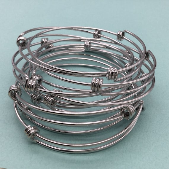 Bulk Lot 50 pcs Stainless Steel Adjustable Wire Bangle | Etsy