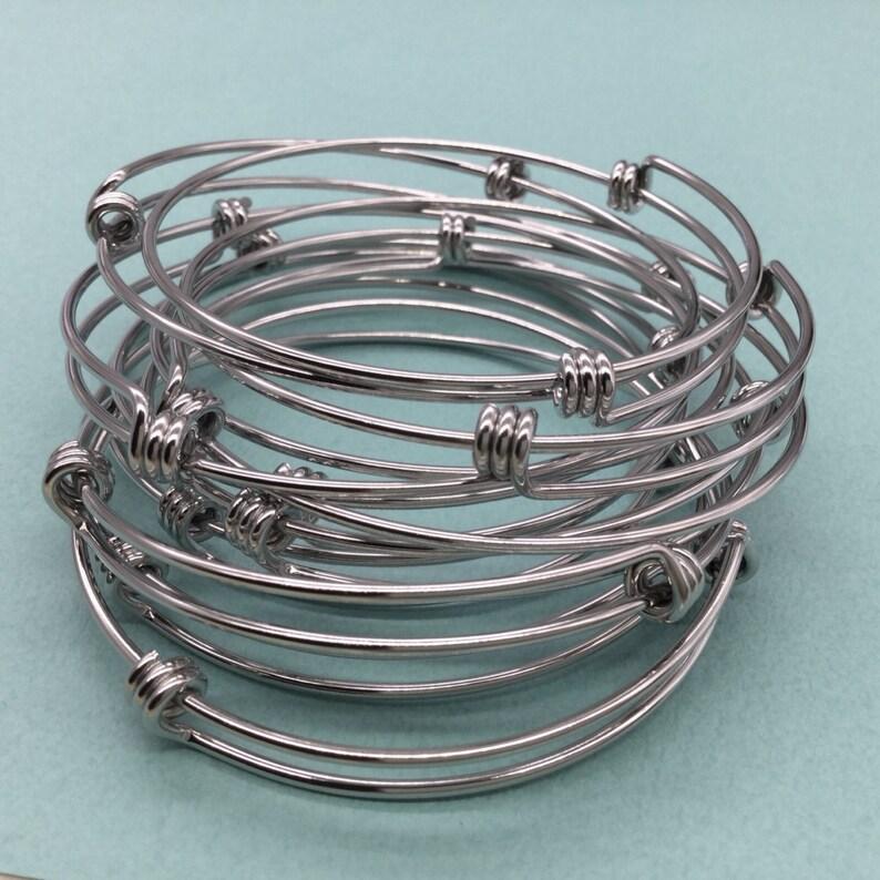 Bulk Lot 50 pcs Stainless Steel Adjustable Wire Bangle image 0