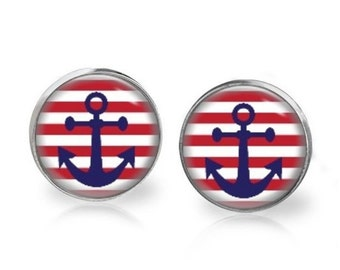 14mm Red Strip Blue Anchor Glass Dome Stud Earrings Surgical Stainless Steel Post