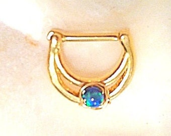 Clear Crystals 316L surgical steel bar PROMO 20/% Off White OPAL Septum Clicker Gold Plated lace filigree DAITH Ring 16g