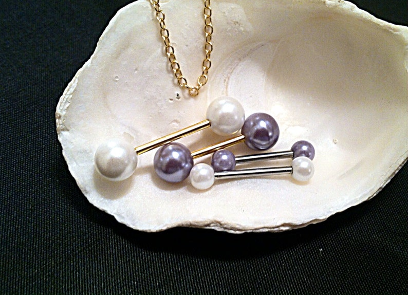 1 WHITE PEARL Nipple Barbell or Gray or Pink Pearls 316 image 0