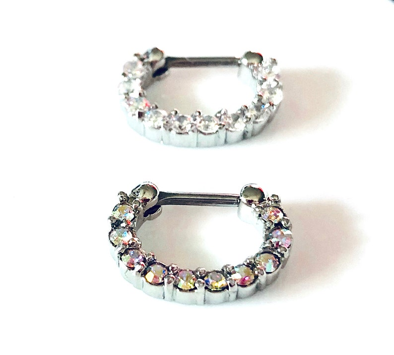 2 Septum U Get Both 8mm Drop Septum Silver Color 1 Clear Crystal /& 1 AB Crystal Septum Clicker 16g Nose Ring DAITH 316L Steel 6mm Bar