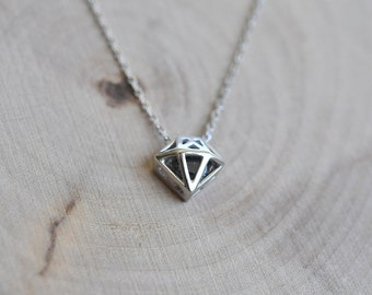 Diamond Geometric Shaped Necklace in Sterling Silver, Diamond Necklace, Geometric Jewelry, Trendy Jewelry, Sterling Silver 925 Jewelry