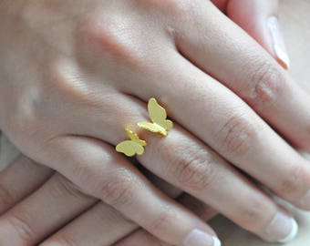 Gold Butterfly Ring, Butterfly Jewelry, Butterfly Ring, Sterling Silver Butterfly Ring