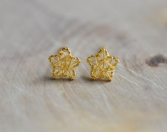 100% Sterling Silver Gold Wire Wrapped Star Earrings, Sterling Silver Earrings, Gold Star Earrings, 925 Silver Jewelry, Twinkle Star