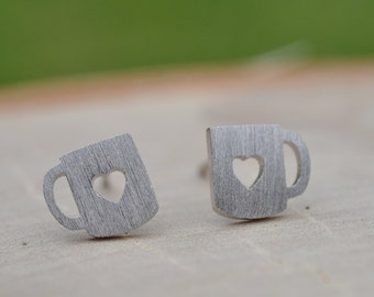 Sterling Silver Brushed Matte Love Mug Earrings, Love Earrings, Heart Earrings, Cute Earrings, Sterling Silver Earrings