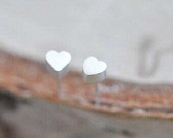 Sterling Silver Heart Stud Earrings; 100% Sterling Silver Heart earrings; Sterling Silver Heart Jewelry; Sterling Silver Earrings