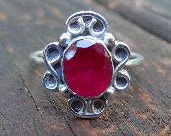 Bohemian Natural Ruby Sterling Silver Ring Size 10 Natural Ruby Oval Stone Ring Large Stone Natural Stone Ruby 925 Silver Ring 10