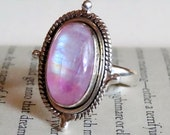 925 - Pink Moonstone Sterling Silver Ring Size 10.5, Pink Rainbow Moonstone Ring, Natural Stone Pink Moonstone Statement Ring Size 10 11,