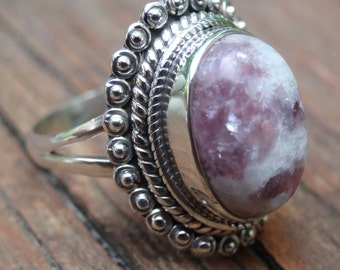 Precise Lepidolite Gemstone 925 Silver Jewelry Adjustable Cuff Easy To Lubricate Jewelry & Watches