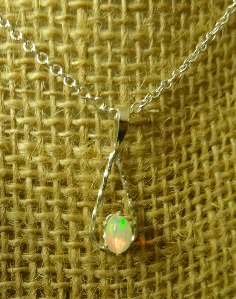 Natural Stone Necklace Dainty Opal Neck NATURAL Genuine Ethiopian Opal Sterling Silver Pendant Necklace Sterling Silver 18 Chain