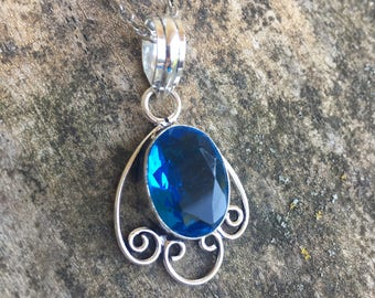 """Sterling Silver Faceted Blue Topaz Pendant Necklace - Sterling Silver - 18"""" Sterling chain - Blue quartz Necklace - Natural Stone Neckl"""