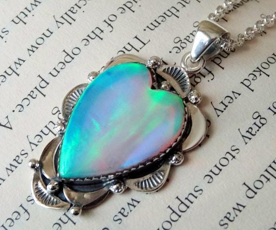 925 - Nova Opal Necklace, Sterling Silver Nova Opal Heart Pendant, Opal Doublet, Statement Jewelry, Sterling Silver, Aurora Opal