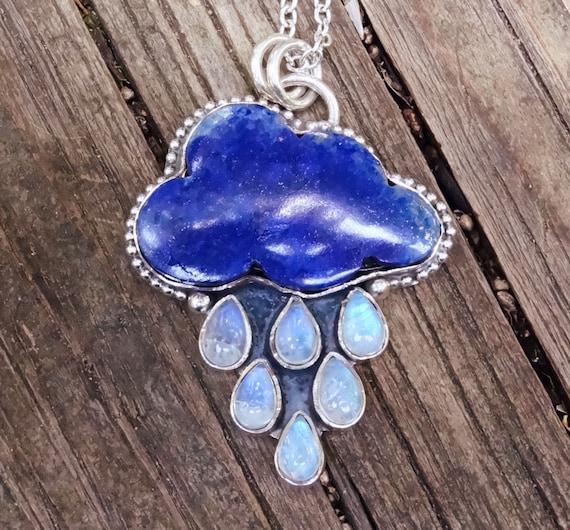 925 - Rain Cloud, Carved Stone Necklace, Sterling Silver Rainbow Moonstone, Blue Lapis Lazuli Pendant, Handmade, 925 Moonstone Necklace
