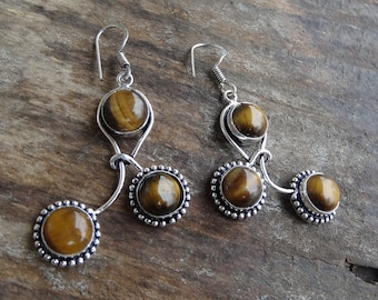 Sterling Silver Natural Stone Tigers Eye Dangle Earrings Sterling Earrings Tiger's Eye Earrings Boho Chic Earrings - Natural Stone Earrings