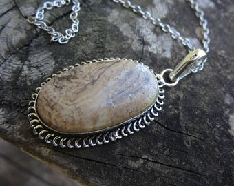 Sterling Silver Natural Picture Jasper Ring Pendant Necklace - Natural Stone Pendant Jasper Necklace - Sterling Jasper Necklace