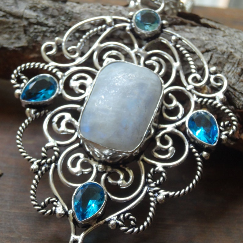 Handmade Sterling Silver Natural Moonstone Blue Topaz Pendant Necklace Large Moonstone Pendant STERLING SILVER 18 chain