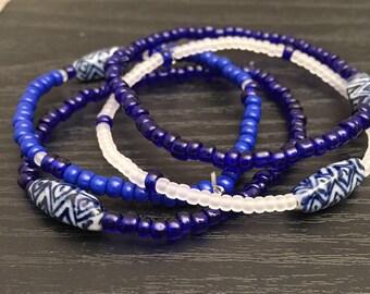 Set of 4 Cobalt Blue Bracelets. (Stretchy)