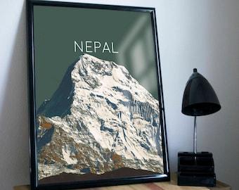 Nepal Himalayas Annapurna II Poster 11x17 18x24 24x36