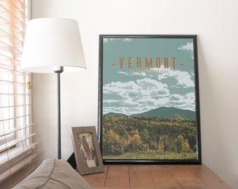 Vermont Illustration Poster 11x17 18x24 24x36