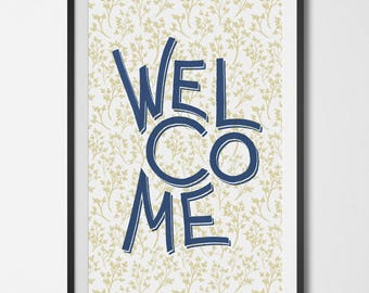 Welcome Poster with Herbs 11x17