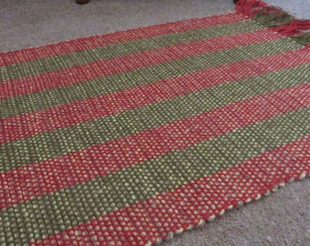 Hand Woven Small Rug, Mat, Homeware, striped wool red, green, olive, forest green, handweaving,rustic home accessory, woollen, throw,cloth,