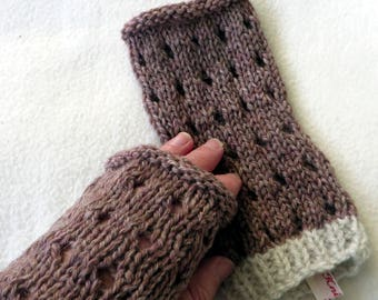 Hand Knitted Hand Warmers Shetland Wool Natural  cosy gloves mittens arm wrist hand cuff warm gift accessory fingerless cuffs