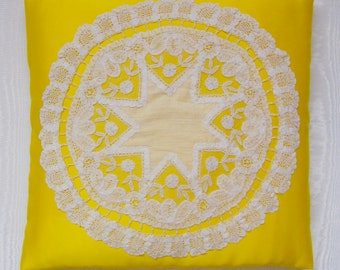 Nightdress case, pyjama case in yellow satin with ivory antique lace.