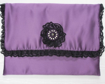 Nightdress case in purple satin with black lace and diamonté